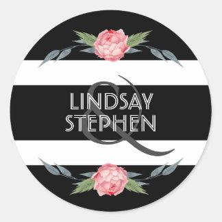 Adesivo Redondo Casamento floral das listras preto e branco