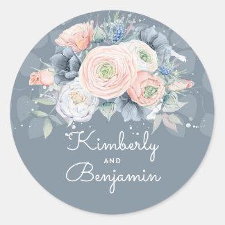 Adesivo Redondo Casamento floral do azul francês e do rosa de