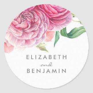 Adesivo Redondo Casamento floral do rosa botânico da aguarela