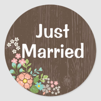 Adesivo Redondo Casamento floral do rosa de madeira rústico do