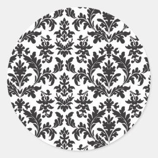Adesivo Redondo Casamento floral do vintage preto e branco do