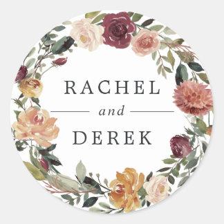 Adesivo Redondo Casamento floral rústico da grinalda da flor |