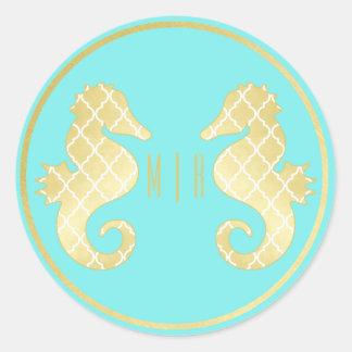 Adesivo Redondo Casamento formal do ouro de turquesa do cavalo
