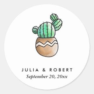 Adesivo Redondo Casamento mínimo rústico do cacto do Succulent
