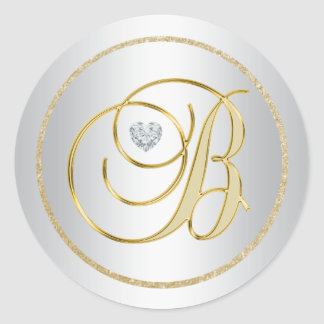 """Adesivo Redondo Casamento Monogrammed de """"B"""" do ouro de prata"""