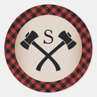 Adesivo Redondo Casamento Monogrammed do machado da xadrez do