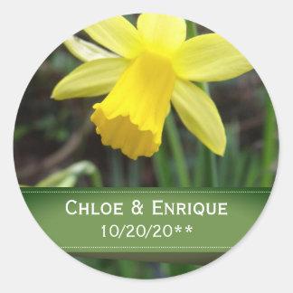 Adesivo Redondo Casamento personalizado do foco Daffodil macio