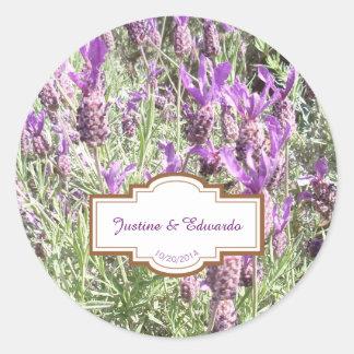 Adesivo Redondo Casamento personalizado flores da lavanda francesa