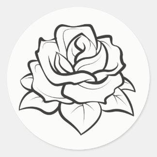 Adesivo Redondo Casamento preto e branco floral da flor do rosa