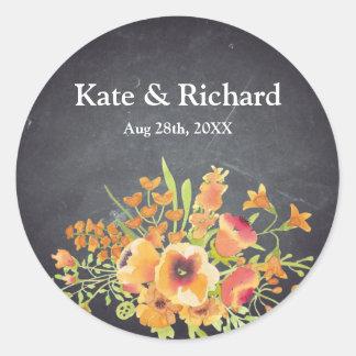 Adesivo Redondo Casamento preto floral do quadro do vintage