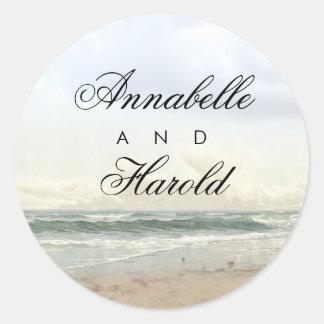 Adesivo Redondo Casamento romântico do verão da praia