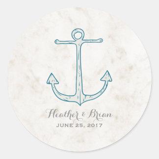 Adesivo Redondo Casamento rústico da âncora dos azuis marinhos
