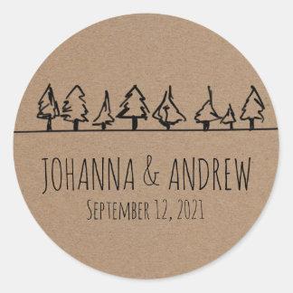 Adesivo Redondo Casamento rústico da árvore de floresta do papel