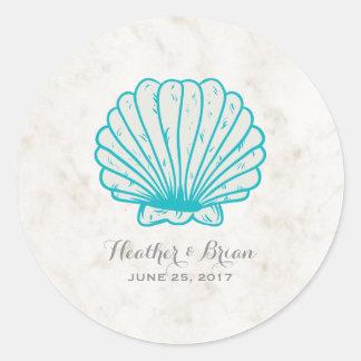 Adesivo Redondo Casamento rústico do Seashell de turquesa