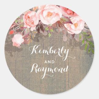 Adesivo Redondo Casamento rústico floral cor-de-rosa do celeiro