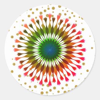 Adesivo Redondo Casamento verde dos confetes do ouro da flor de