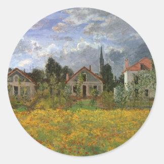 Adesivo Redondo Casas em Argenteuil por Claude Monet, arte do