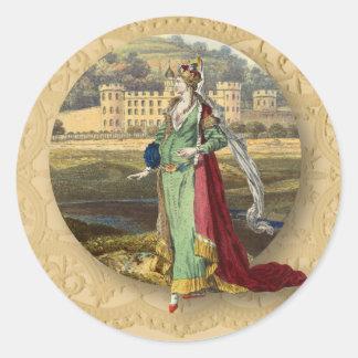 Adesivo Redondo Castelo e rainha medievais