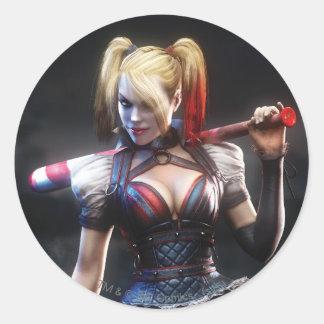 Adesivo Redondo Cavaleiro de Batman Arkham | Harley Quinn com