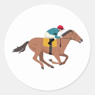Adesivo Redondo Cavaleiro do cavalo de Kentucky Derby
