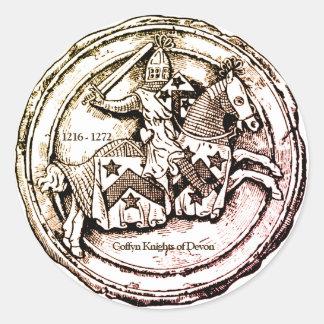 Adesivo Redondo Cavaleiros de Coffyn de Devon 1216 - 1272