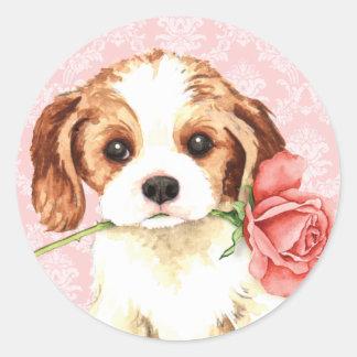 Adesivo Redondo Cavalier cor-de-rosa dos namorados