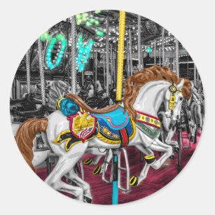 f4fec062162 Adesivo Redondo Cavalo colorido do carrossel no carnaval