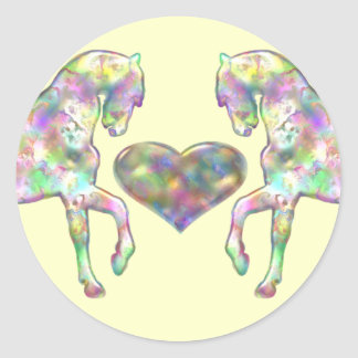 Adesivo Redondo Cavalo das crianças e coração do amor