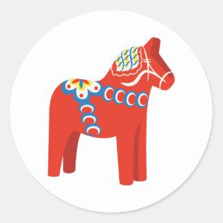 Adesivo Redondo Cavalo de Dala do sueco