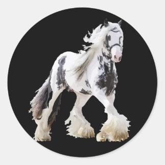Adesivo Redondo Cavalo de esboço aciganado do garanhão da égua