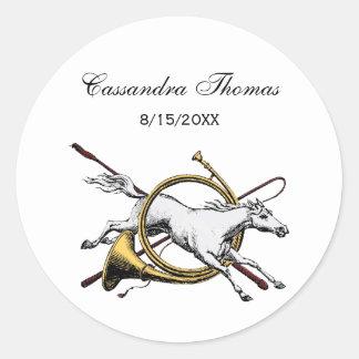 Adesivo Redondo Cavalo equestre formal que salta com a cor do