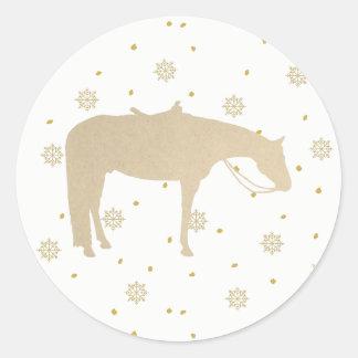 Adesivo Redondo Cavalo ocidental branco do ouro do pergaminho do