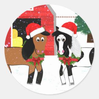 Adesivo Redondo Cavalos do Natal