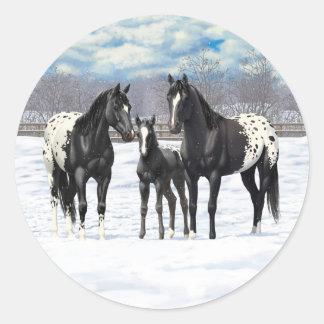 Adesivo Redondo Cavalos pretos do Appaloosa na neve