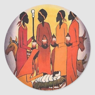 Adesivo Redondo Cena africana da natividade do Natal