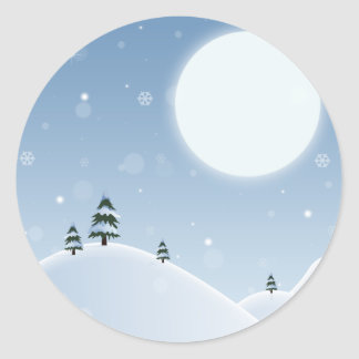 Adesivo Redondo Cena da neve do inverno