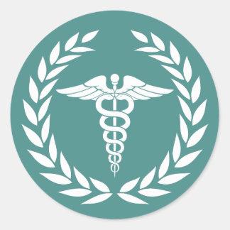 Adesivo Redondo Cerceta médica do símbolo do Caduceus dos cuidados