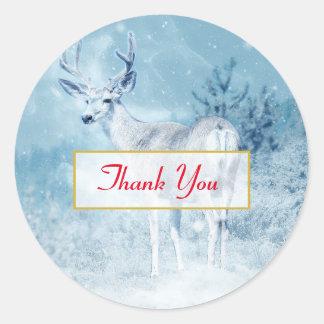Adesivo Redondo Cervos do inverno e obrigado dos pinheiros você