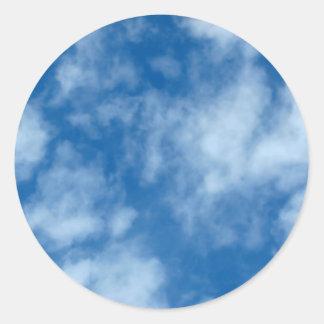Adesivo Redondo Céu azul com foto das nuvens