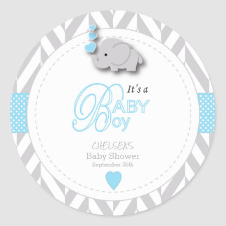 Adesivo Redondo Chá de fraldas cinzento azul, branco do elefante