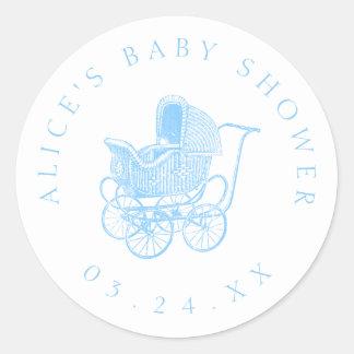 Adesivo Redondo Chá de fraldas da carruagem de bebê azul do
