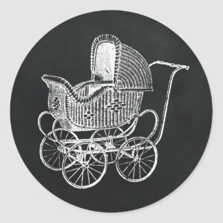 Adesivo Redondo Chá de fraldas da carruagem de bebê do quadro do