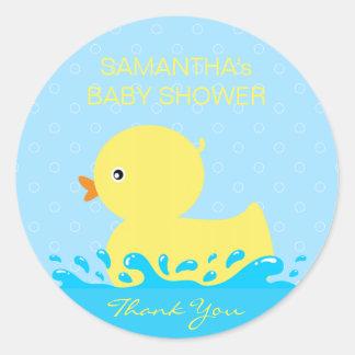 Adesivo Redondo Chá de fraldas Ducky de borracha azul amarelo