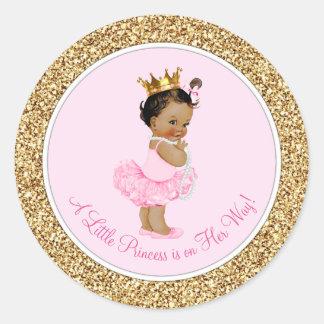 Adesivo Redondo Chá de fraldas étnico da princesa Cor-de-rosa Ouro