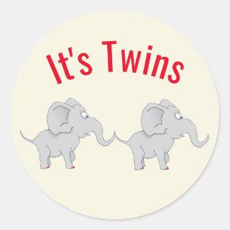 Adesivo Redondo Chá de fraldas gêmeo dos elefantes | para honrar a