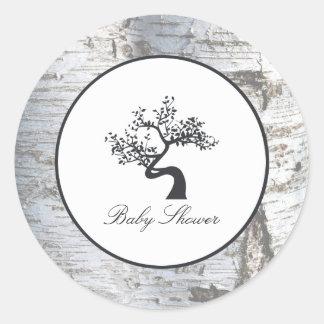 Adesivo Redondo Chá de fraldas rústico da árvore de vidoeiro de