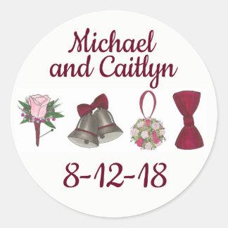 Adesivo Redondo Chá Wedding personalizado da noiva da festa de