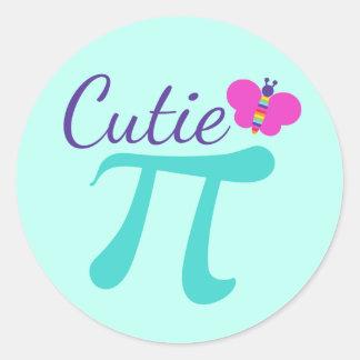 Adesivo Redondo Chalaça da matemática do símbolo de Cutie Pi