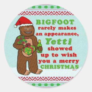 Adesivo Redondo Chalaça engraçada de Sasquatch do Feliz Natal de