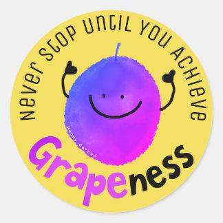 Adesivo Redondo Chalaça positiva da uva - consiga Grapeness